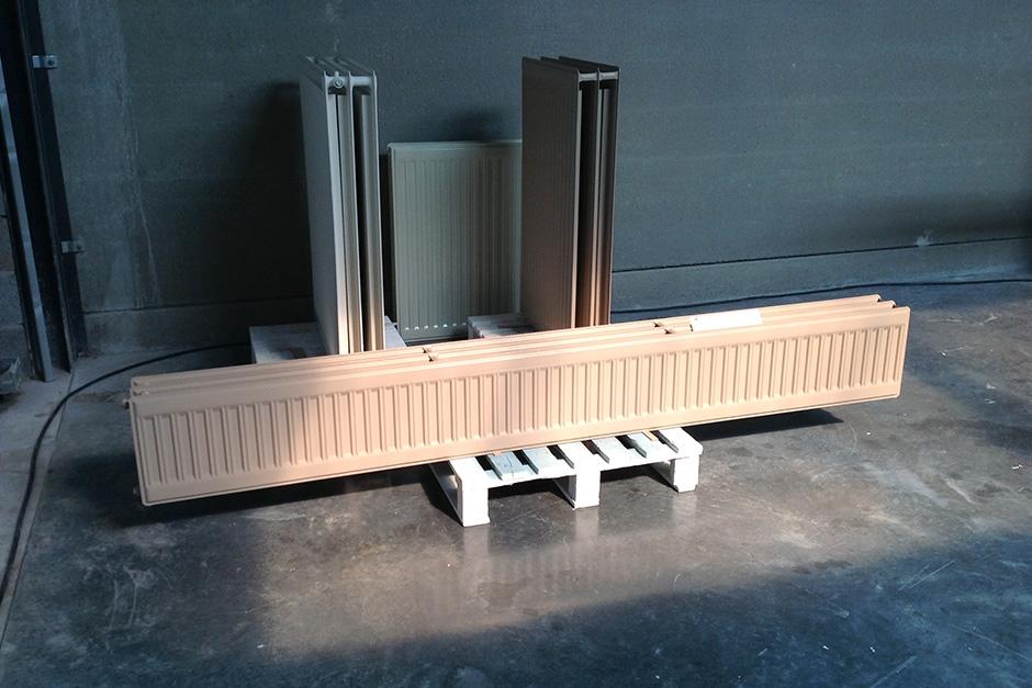 radiatoren na het lakken
